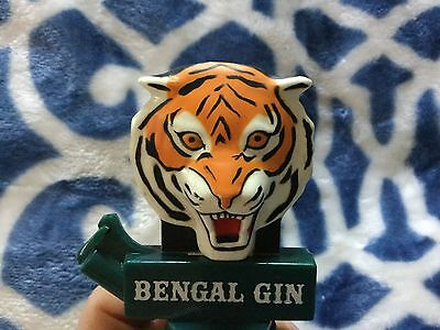 "Bengal Gin Bottle Pourer-NOS Advertising-2"" Bengal Tiger Head"