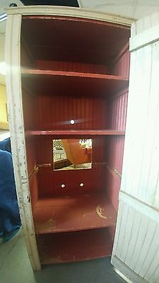 Large Cupboard Jelly Cabinet Pantry Antique Primitive Buttercream & Red Paint