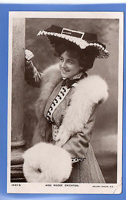 Old Vintage 1906 Rp Postcard Edwardian Actress Miss Madge Crichton