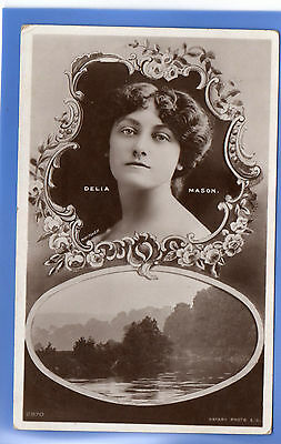 Old Vintage 1905 Rp Postcard Edwardian Actress Miss Delia Mason