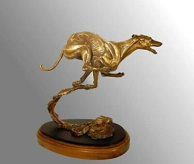 Real Bronze Running Whippet Figurine  By Leslie Hutto Limited Edition