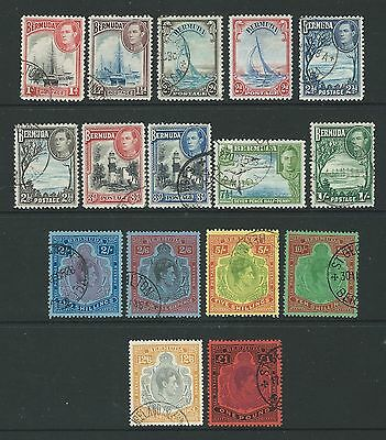BERMUDA 1938 GEORGE VI SIMPLIFIED SET OF 16 FINE USED  cv £230.00 PLUS