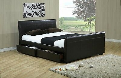 Proda 4 Drawers Leather Storage  Bed Double Or King Size Beds + Memory Mattress