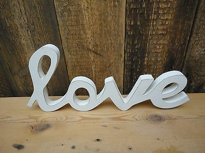 Shabby Chic White Wooden Love Sign Plaque Home Decorative E