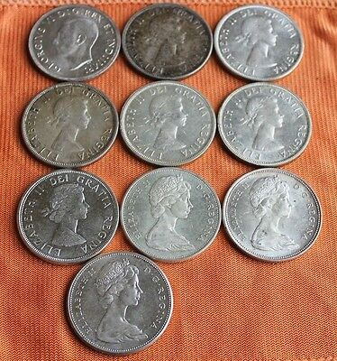 $10 FV Canada Silver Dollars (10 coin lot), No Duplicate Dates! $1, Canadian