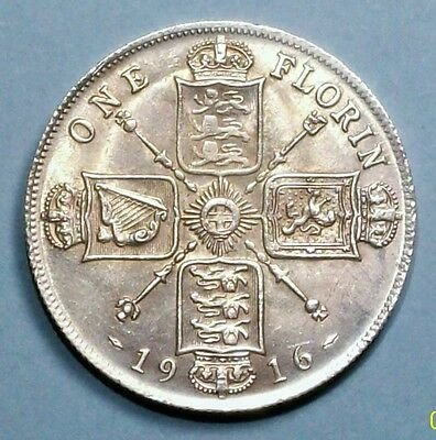 Great Britain Florin 1916 About Uncirculated 0.9250 Silver Coin