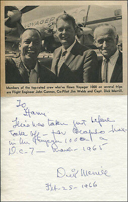 Dick (Henry T.) Merrill - Autograph Note Signed 02/25/1966