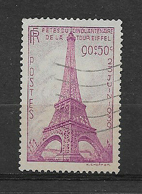 FRANCE , 1939 , EIFFEL TOWER , 90c STAMP , PERF, USED