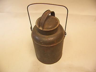 Antique  old vintage tin can with lid and handle coffee?