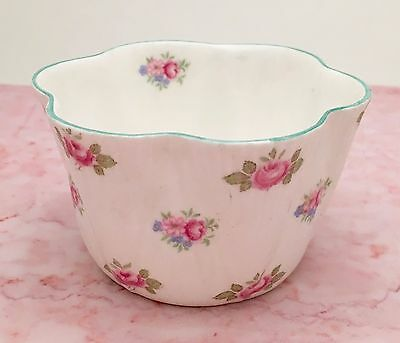 Shelley Bone China Miniature Open Sugar Bowl in 'Rosebud' Pattern