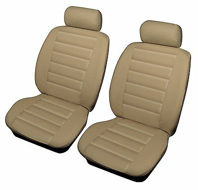 Luxury High Quality Leather Look Beige Styling Front Pair Cream Car Seat Covers