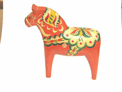 "Vintage- Dala Horse Wooden Swedish Hand Painted 10"" Tall- Olsson"