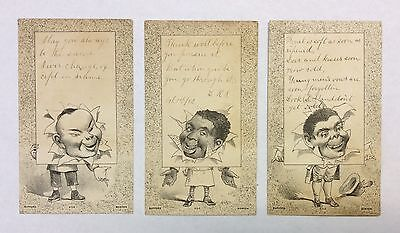 Lot of (3) 1880's Bufford Boston Black Americana & Asian Racial Trade Cards
