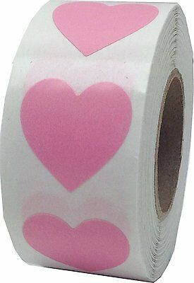 InStockLabels Heart Stickers 3/4 Inch 500 Adhesive Stickers, Pink