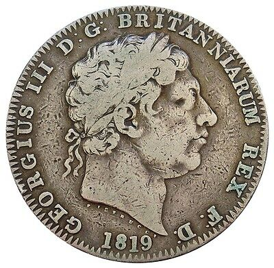 1819 Lix Silver Great Britain Crown George Iii Coin