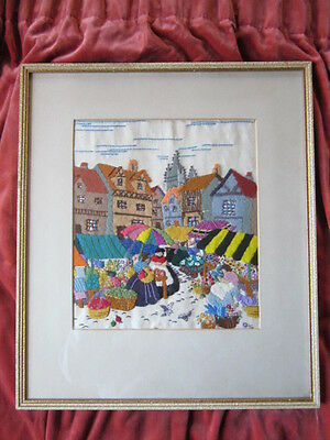 Very Old Colourful Felt & Embroidered Tapestry Framed Picture Flower Market Town