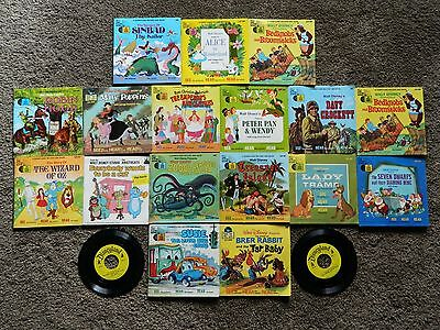 18 Disney's Read Along Book And Record 33 1/3 Lot Susie Blue Coupe Tar Baby Pan