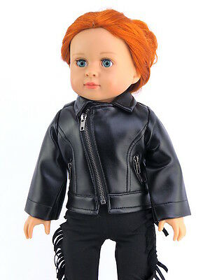 """Black Leather-like Jacket Fits American Girl or Boy 18"""" Doll Clothes"""