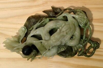 Chinese carved green JADE DRAGON large antique figure