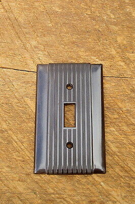 Vintage Brown Bakelite Ribbed Switch Plate Cover