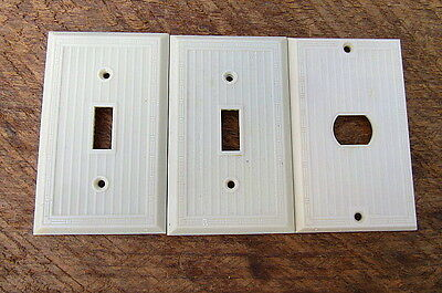 2 Vintage Ivory Bakelite Ribbed Switch Plate Covers & 1 Telephone Cover