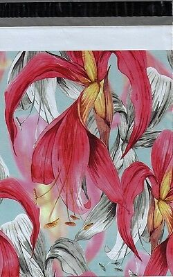 200 10x13 Red Tropical Flowers Custom Designer Poly Mailers Envelopes Bags