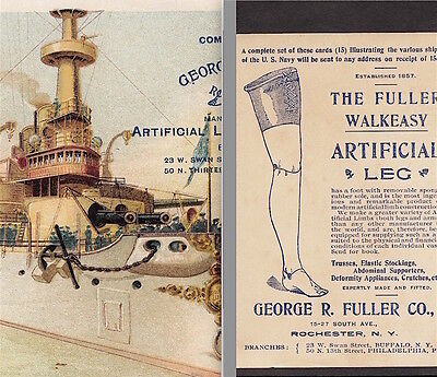 USS Battleship Indiana Navy War Ship 1898 © Fuller Artifical Leg Medical Ad Card