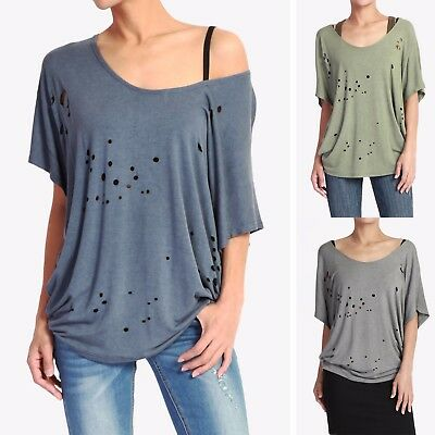 688c049109231 TheMogan Women s Burn Out Boat Neck Slouchy Jersey Top Vintage Cutout Washed  Tee