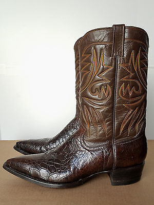 VTG 1970s Mens Exotic Reptile Leather Brown Cowboy Boots 12 M