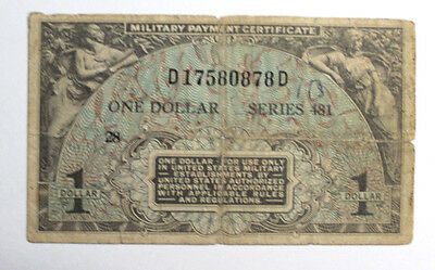 Mpc Military Payment Certificate Series 481 $1 Dollar Currency Note
