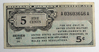 Mpc Military Payment Certificate Money 5 Cents Series 461 Currency