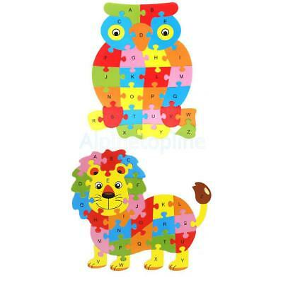 2x Colorful Wooden Crab Puzzle ABC English Letter Kid Education Toy - Lion + Owl