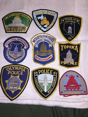 Lot Of Nine Different U.S. Capitol City Police Patches ~ Some Obsolete