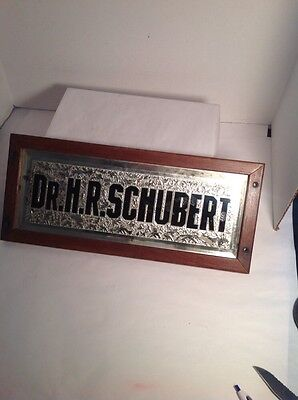 Antique Glass Physician Surgeon Sign Medical Office Name Reversed Painted Doctor
