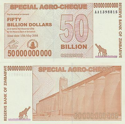 Zimbabwe 50 Billion Dollars X 30 (PCS) Used+ (AGRO), 2008 - USA SELLER-JAE47