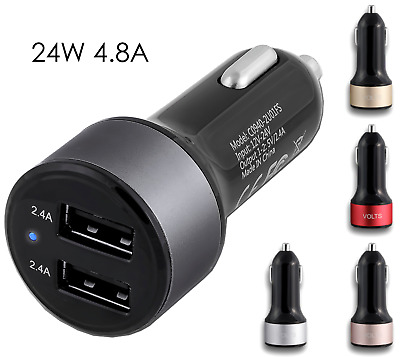 For Apple Lightning Cable Car Charger 2 port 2.4 Amp for Samsung Galaxy iPhone 6