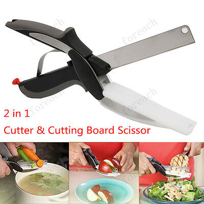 Clever Kitchen Cutter 2-in-1 Multi functional Food Scissors Cutting Board