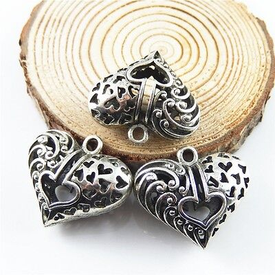 Hollow Heart Shaped Vintage Silver Color Alloy Crafts Jewelry Charms Pendants 5x