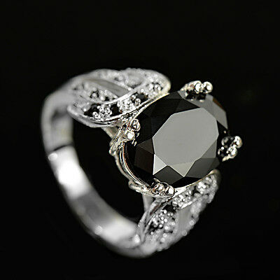 Women 925 Silver Jewelry Oval Cut Black Sapphire Elegant Wedding Ring Size 6-10