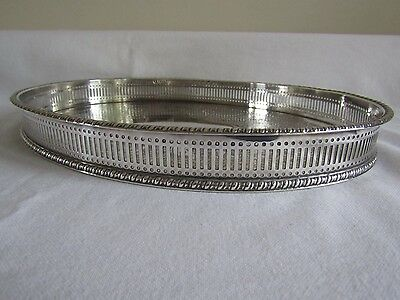 Antique Oval Silver Plate Galleried Serving Tray- Barker & Ellis- Chased Design