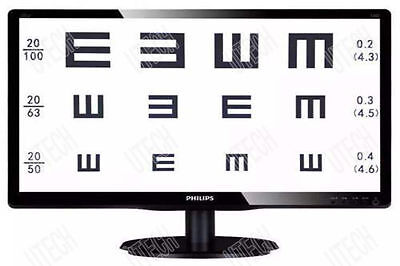 19' TFT LED Liquid Crystal Visual Acuity Chart Projector Computer Eye Chart