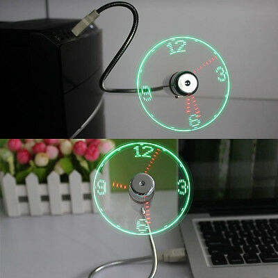 LED Clock Fan Mini USB Powered Cooling Flashing Real Time Display Function AU