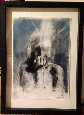 Guy Denning Original Artwork. Charcoal On Paper. Framed