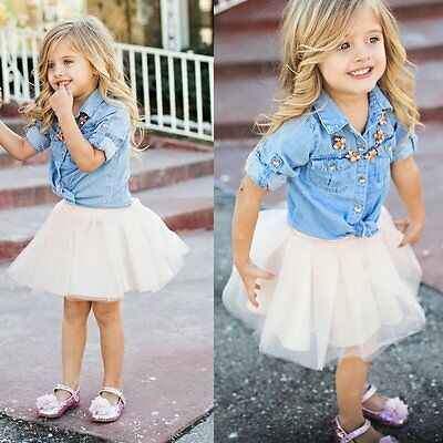 Toddler Kids Baby Girl Denim Shirt Coat+Tutu Skirt Dress Outfit Clothes 2PCS Set