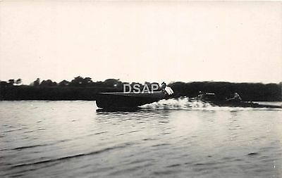C35/ Transportation Real Photo RPPC Postcard c1910 Speed Boat Racing 15