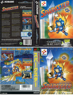 Sparkster Sega Mega Drive PAL & NTSC-J JP Replacement Box Art Case Insert Cover