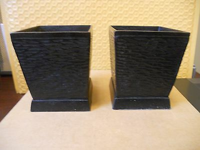 "Pair of Black Candle Holders - 3 1/2"" tall x 3"" square"