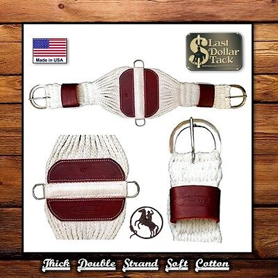 Wide Western Roper Cinch ~ Thick Soft Double Strand Cotton ~ Heavy Duty Buckles