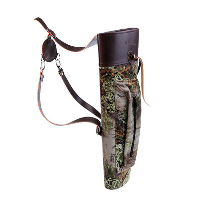 Camo Archery Hunting Bow Arrow Back / Side Quiver Holder with Zipper Pocket
