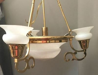 Beautiful Solid Brass 3 Arm Chandelier Ceiling Light Fixture